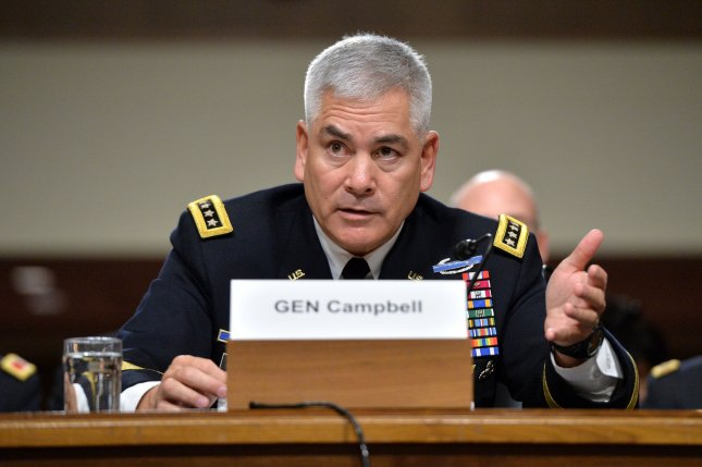 Gen. John F. Campbell testifies Tuesday during a Senate Armed Services Committee Hearing on the ongoing situation in Afghanistan. During the hearing, Campbell stated his belief that the Pentagon needs to implement a different plan to fight terrorism in Afghanistan. Photo by Kevin Dietsch/UPI