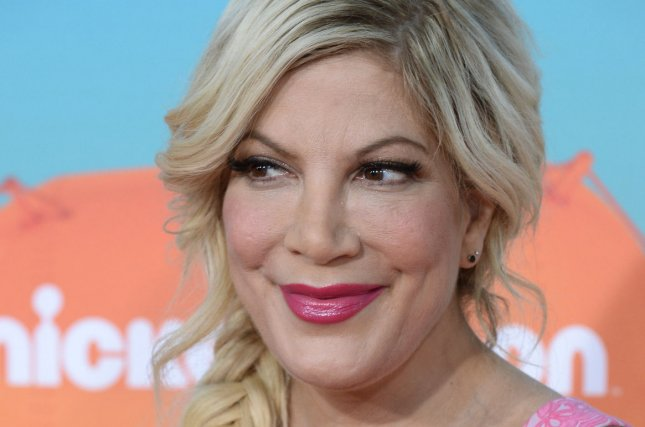 Mother, May I Sleep with Danger? actress Tori Spelling attends Nickelodeon's Kids' Choice Awards in Inglewood, California on March 12, 2016. Photo by Jim Ruymen/UPI