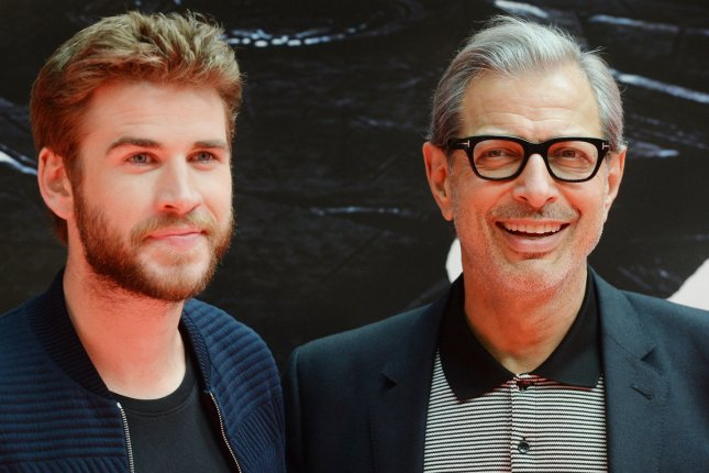 Jeff Goldblum and Liam Hemsworth attend a photo call for Independence Day: Resurgence in London on June 6, 2016. Photo by Rune Hellestad/ UPI