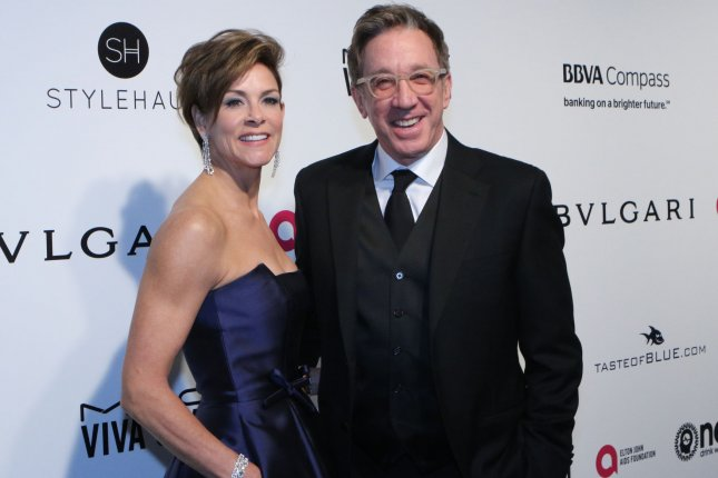 Last Man Standing actor Tim Allen and his wife, Jane, arrive for the Elton John Aids Foundation's Academy Awards viewing party on February 26. File Photo by Howard Shen/UPI