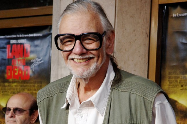 George A. Romero, the director of Land of the Dead, in Los Angeles June 20, 2005. The filmmaker died Sunday at the age of 77. File Photo/Jim Ruymen)