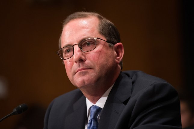 The U.S. Senate confirmed Alex Azar, President Donald Trump's nominee to be the next secretary of the Department of Health and Human Services, on Wednesday. Photo by Kevin Dietsch/UPI