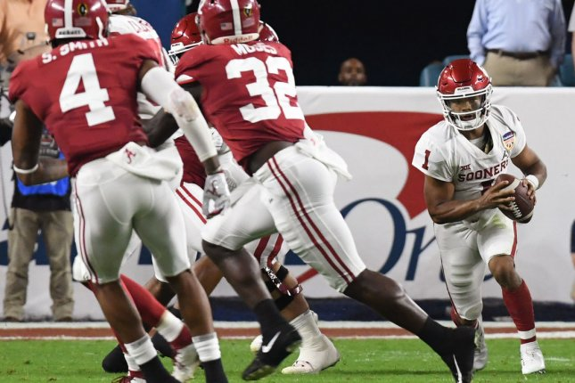 Oklahoma Sooners quarterback Kyler Murray is expected to be a first round pick in the 2019 NFL Draft, but it doesn't appear that he is headed to the Arizona Cardinals. File Photo by Gary Rothstein/UPI