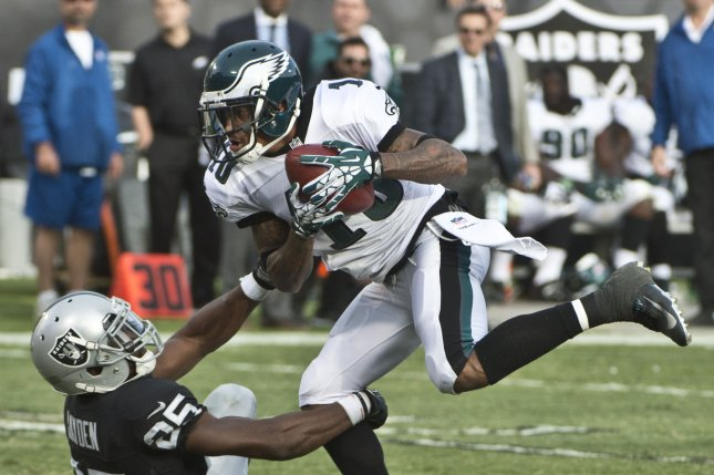 Philadelphia Eagles wide receiver DeSean Jackson (10) will visit with a hand specialist Wednesday. File Photo by Terry Schmitt/UPI