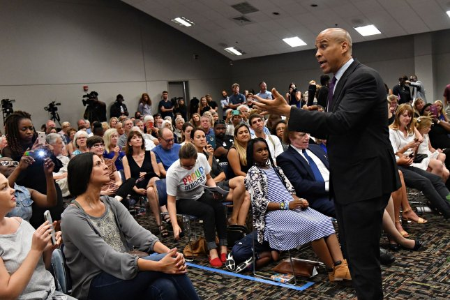 Democratic presidential hopeful Cory Booker addresses a town hall meeting in Charleston, S.C., on August 5. File Photo by Richard Ellis/UPI
