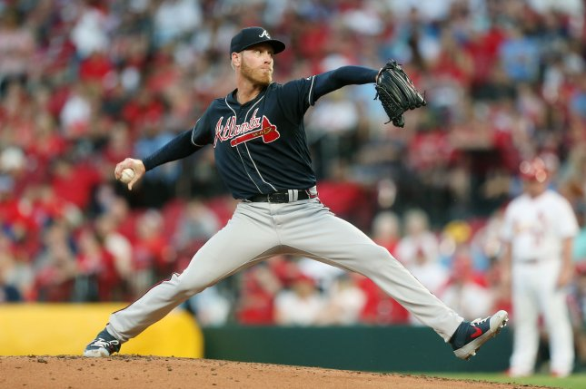 Atlanta Braves starting pitcher Mike Foltynewicz allowed only three hits across seven scoreless innings against the St. Louis Cardinals on Friday. File Photo by Bill Greenblatt/UPI