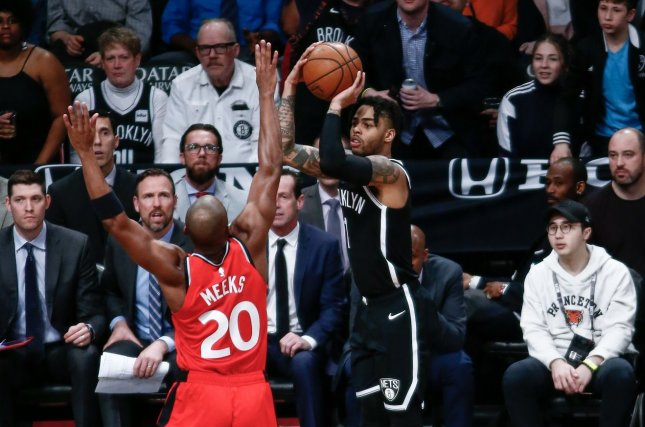 Former Brooklyn Nets guard D'Angelo Russell (1) has averaged 24.4 points and eight assists per game since joining the Minnesota Timberwolves earlier this month. File Photo by Nicole Sweet/UPI