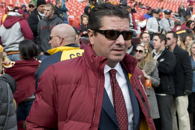 Washington Football Team owner Dan Snyder said he and his wife Tanya suggested for the NFL to take over an investigation into sexual harassment allegations within the team's facilities.  File Photo by Kevin Dietsch/UPI