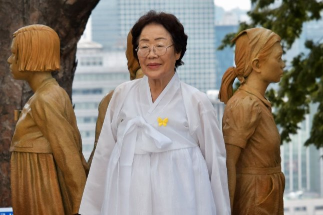 Former South Korean comfort woman like Lee Yong-soo and others were remembered in a statement from President Moon Jae-in on International Women's Day on Monday. File Photo by Keizo Mori/UPI