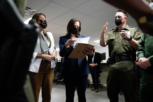 Vice President Kamala Harris walks to board Air Force Two at Dobbins Air Force Base, in Marietta, Ga., on March 19. Friday, she departed Washington, D.C., to visit the U.S.-Mexico border. File Photo by Kevin Dietsch/UPI