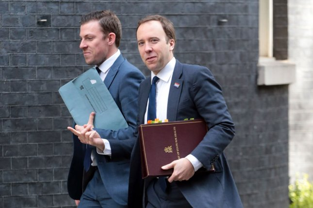 British Health Minister Matt Hancock leaves No.10 Downing Street in London on April 3, 2019. He resigned as health minister on Saturday after he was caught breaking coronavirus protocols in May. File photo by Hugo Philpott/UPI
