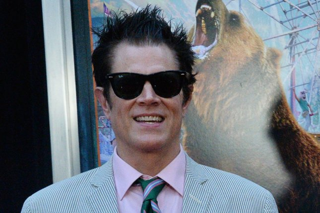 Johnny Knoxville explained some of the stunts that will be featured on his new film Jackass Forever on Jimmy Kimmel Live, which was hosted by Anthony Anderson. File Photo by Jim Ruymen/UPI