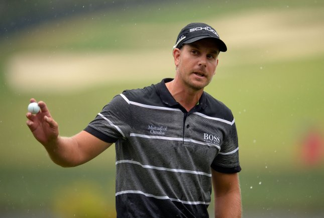 Henrik Stenson, shown at a tournament in September, owns a one-stroke lead going into Sunday's final round of the European Tour's DP World Tour Championship. UPI/David Tulis