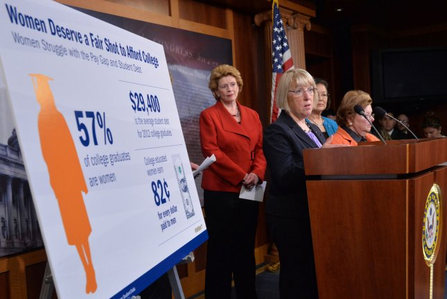 Sen. Patty Murray (D-WA), joined by fellow Senators, speaks at a press conference on student loan debt, fair pay for women and the Student Load Refinance Bill on Capitol Hill in Washington, D.C. on June 4, 2014. UPI/Kevin Dietsch