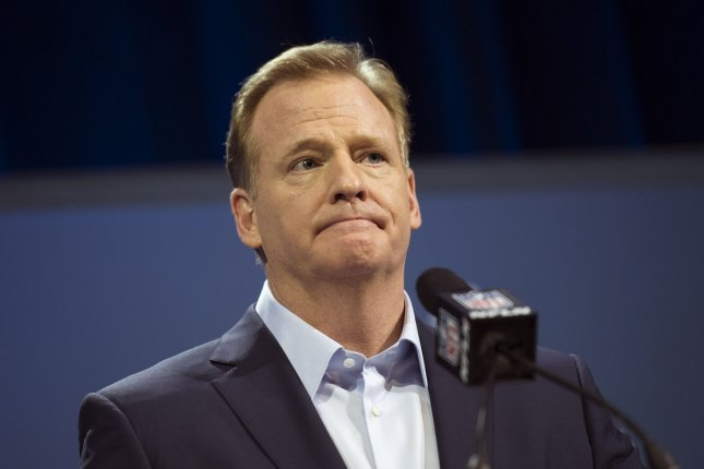 NFL Commissioner Roger Goodell will be present at Thursday's 2017 NFL Draft in Philadelphia, Pa. File photo by Kevin Dietsch/UPI