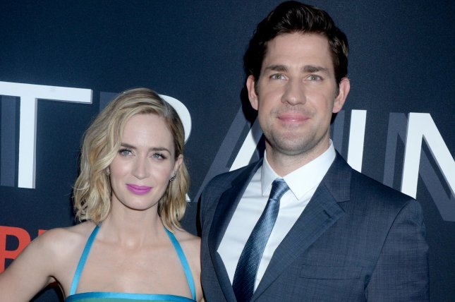 John Krasinski (R) pictured here with his wife Emily Blunt (L), stars in the new trailer for Amazon's Tom Clancy's Jack Ryan. File Photo by Dennis Van Tine/UPI