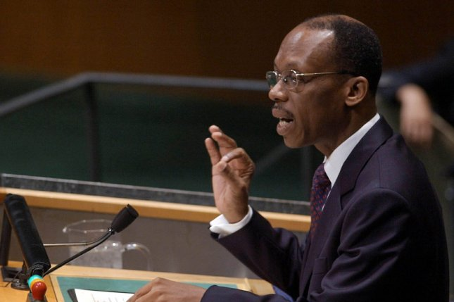 Jean-Bertrand Aristide, president of Haiti, addresses the 58th session of the United Nations General Assembly on September 26, 2003, in New York City. On October 15, 1994, Aristide returned to Haiti three years after being driven into exile by a military coup. File Photo by Ezio Petersen/UPI