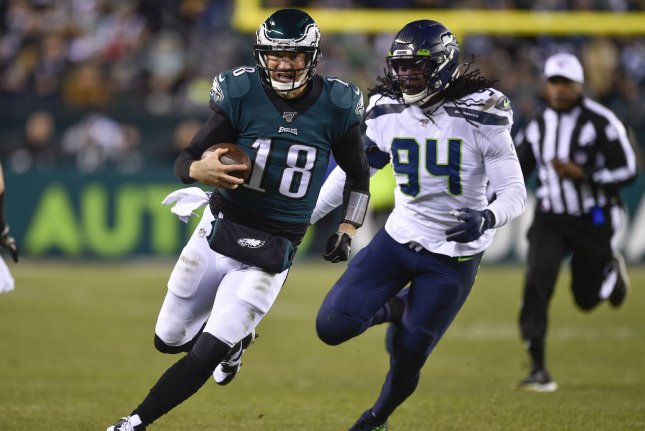 Philadelphia Eagles backup quarterback Josh McCown (18) suffered the injury in the second quarter Sunday against the Seattle Seahawks. Photo by Derik Hamilton/UPI