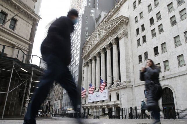 The Dow Jones Industrial Average gained 603 points on Monday as major U.S. indexes surged following the approval of Johnson & Johnson's COVID-19 vaccine. File Photo by John Angelillo/UPI