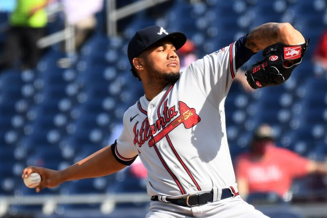 Atlanta Braves starting pitcher Huascar Ynoa, shown April 7, 2021, has the lowest ERA and most wins on the Braves' staff this season. File Photo by Pat Benic/UPI
