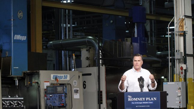 Presumptive Republican presidential nominee Mitt Romney during a speech at Acme Industries August 7, 2012 in Elk Grove Village, Illinois. UPI Photo/Frank Polich