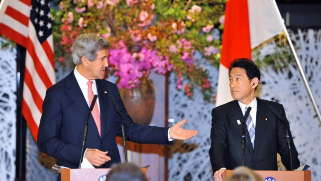 U.S. Secretary of State John Kerry (L) answers reporter's question during the joint press conference at the Iikura Guest House in Tokyo, Japan on April 14, 2013. UPI/Keizo Mori