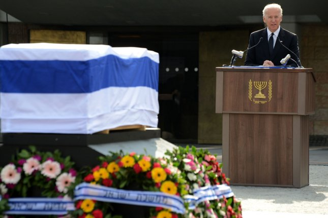 US Vice President Joe Biden eulogizes the late former Israeli Prime Minister Ariel Sharon, near his coffin, during the state official memorial service in the Knesset Plaza, Israel's Parliament, in Jerusalem, Israel, January 13, 2014. Sharon, a former military and political leader, died on January 11, 2013, at the age of 85. He will be buried on his farm in southern Israel later today. UPI/Debbie Hill