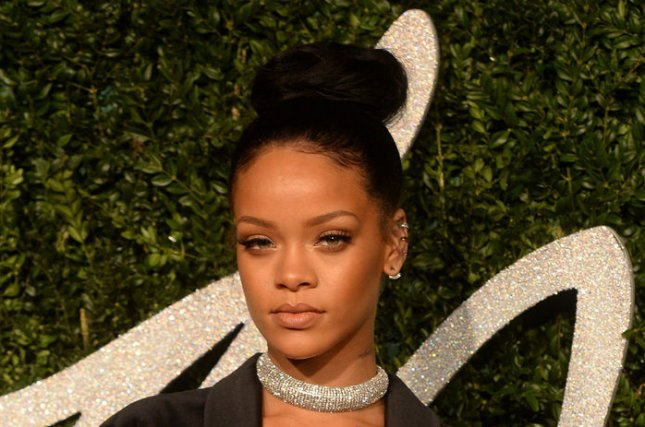 Rihanna shared a photo of her unconventional but sparkly Christmas tree. UPI/ Rune Hellestad