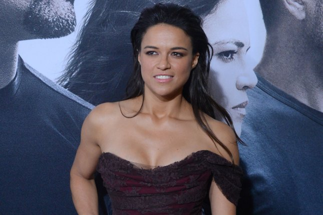 Cast member Michelle Rodriguez attends the Los Angeles premiere of Furious 7 April 1, 2015. Photo by Jim Ruymen/UPI