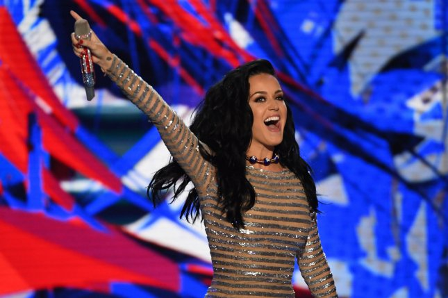 Katy Perry performs at the Democratic National Convention on July 28. The singer dressed as Democratic presidential candidate Hillary Clinton for Halloween. File Photo by Pat Benic/UPI