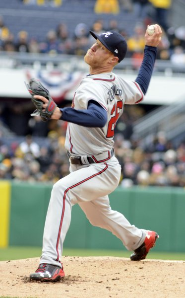 Mike Foltynewicz and the Atlanta Braves shut down the Oakland A's on Friday. Photo by Archie Carpenter/UPI
