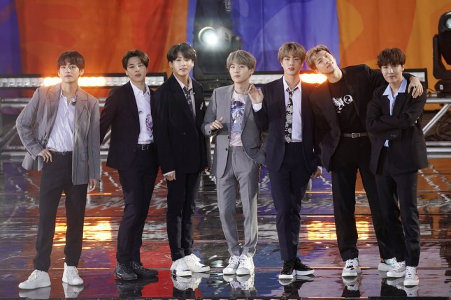 BTS performs on Good Morning America in New York on May 15. The boy band has an estimated $3.5 billion a year impact on the Korean economy. File Photo by John Angelillo/UPI