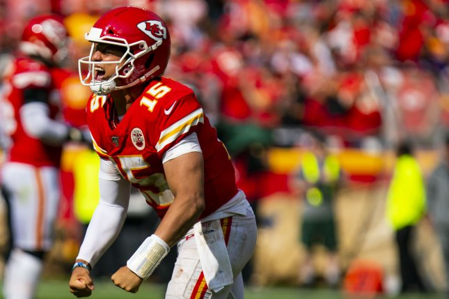 Kansas City Chiefs quarterback Patrick Mahomes leads the NFL in passing yards through the first four weeks of the season. Photo by Kyle Rivas/UPI