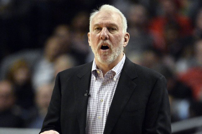NBA Commissioner Adam Silver speculated that older coaches, like the San Antonio Spurs' Gregg Popovich, 71, could be prohibited from the bench area as the league returns from suspension. File Photo by Brian Kersey/UPI