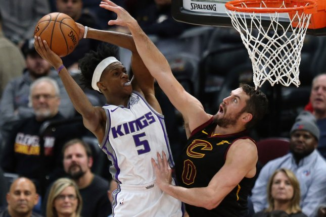 Sacramento Kings guard De'Aaron Fox (L) is averaging 22.3 points and 6.6 assists per game this season. File Photo by Aaron Josefczyk/UPI