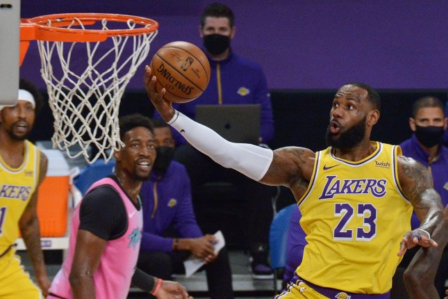 Los Angeles Lakers forward LeBron James (pictured) will captain a team of All-Stars against a team led by Kevin Durant in the 2021 All-Star Game on Sunday on TNT. File Photo by Jim Ruymen/UPI
