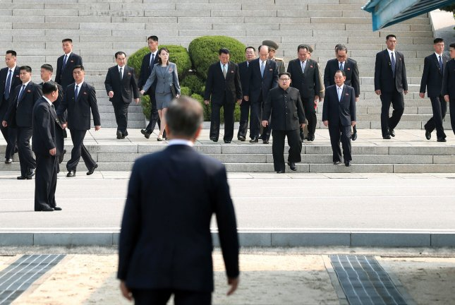 South Korean President Moon Jae-in (foreground) has sought the resumption of dialogue with North Korea since the restoration of an inter-Korean hotline last week. File Photo by Inter-Korean Summit Press Corps/UPI