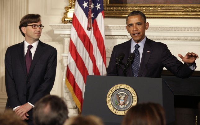 U.S. President Barack Obama (R) speaks next to Jason Furman, Assistant to the President for Economic Policy and Principal Deputy Director of the National Economic Council; at The White House in Washington on June 10, 2013. UPI/Yuri Gripas