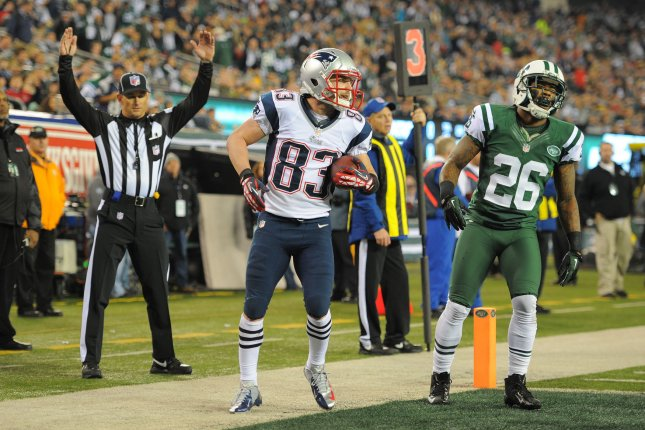 New England Patriots wide receiver Wes Welker (83) reacts after a touchdown reception in the first quarter against the New York Jets in week 12 of the NFL season at MetLife Stadium in East Rutherford, New Jersey on November 22, 2012. UPI/Rich Kane