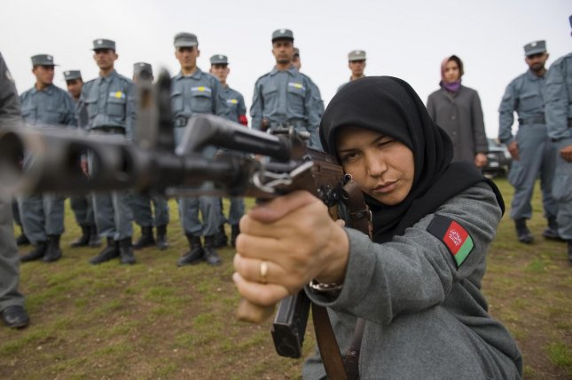 Afghan police officers in training. (UPI/Hossein Fatemi)