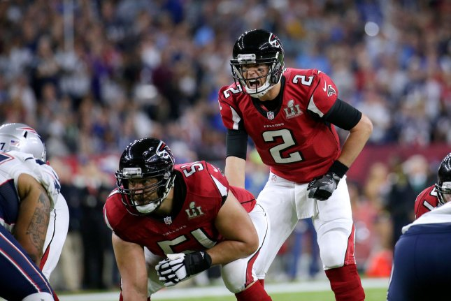 Atlanta Falcons quarterback Matt Ryan calls an audible on the line of scrimmage in the first half of Super Bowl LI at NRG Stadium against the New England Patriots in Houston Texas on February 5, 2017. Photo by John Angelillo/UPI