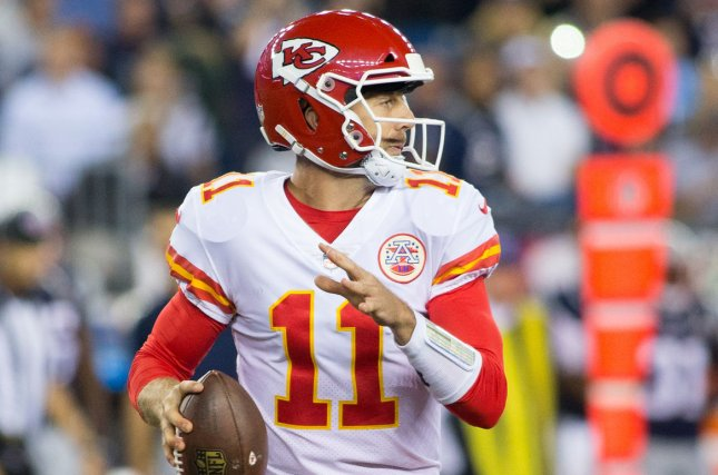 Kansas City Chiefs quarterback Alex Smith (11) drops back for a pass in the second quarter of the NFL season opener against the New England Patriots at Gillette Stadium in Foxborough, Massachusetts on September 7, 2017. File photo by Matthew Healey/UPI