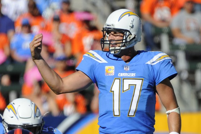 Los Angeles Chargers quarterback Philip Rivers calls a play against the Denver Broncos in the second half on October 22, 2017 at the StubHub Center in Carson, California. Photo by Lori Shepler/UPI