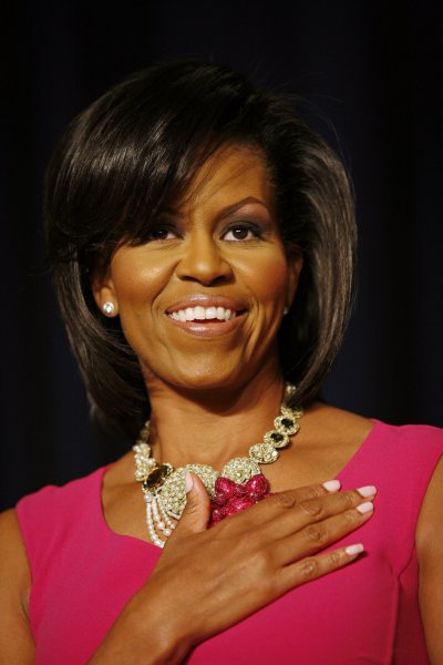 First Lady Michelle Obama attends the White House Correspondents' Association annual dinner at the Washington Hilton Hotel in Washington on May 9, 2009. (UPI Photo/Martin H. Simon/Pool)