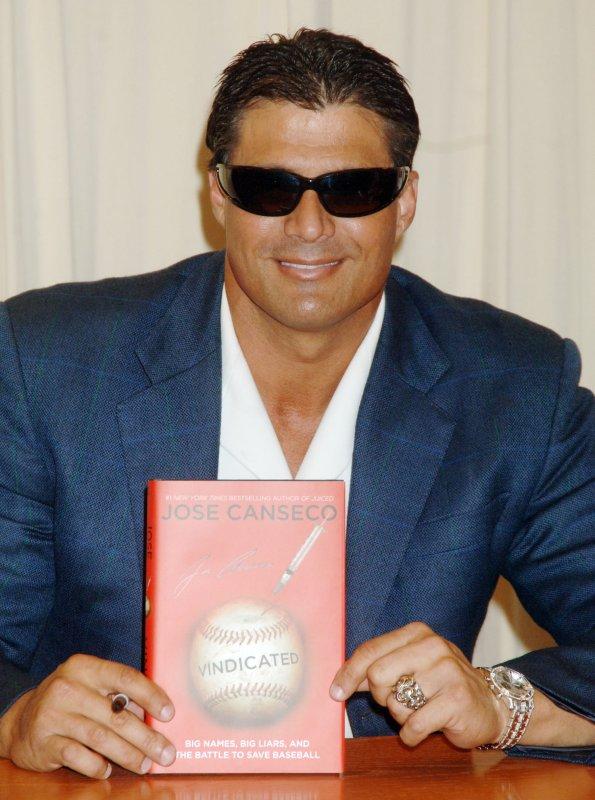 Former Major League Baseball player Jose Canseco promotes his book Vindicated in New York, April 2, 2008. (UPI Photo/Ezio Petersen)