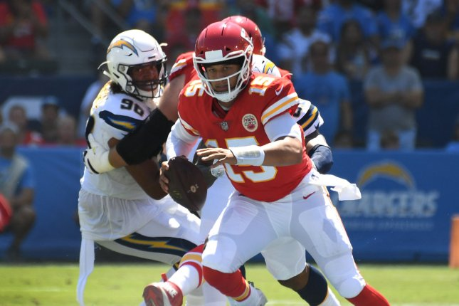 Kansas City Chiefs quarterback Patrick Mahomes (15) runs for yardage in second-quarter action against the Los Angeles Chargers on September 9, 2018 at StubHub Center in Carson, California. Photo by Jon SooHoo/UPI