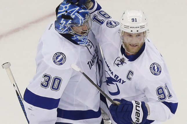 Tampa Bay Lightning forward Steven Stamkos (91) scored his 384th goal to pass Vincent Lecavalier as the franchise's all-time goals leader. File Photo by John Angelillo/UPI