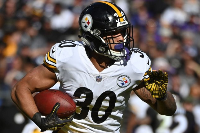 Pittsburgh Steelers running back James Conner  was limited to just 10 games last season, but Hall of Fame running back Jerome Bettis thinks he can return as a great fantasy football player in 2020 if he plays 16 games. File Photo by Kevin Dietsch/UPI