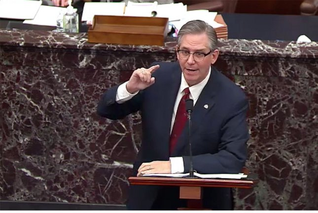 Bruce Castor, defense attorney for former President Donald Trump, speaks Friday during Trump's second impeachment trial on Capitol Hill in Washington DC, on Friday. Photo courtesy of the U.S. Senate/UPI