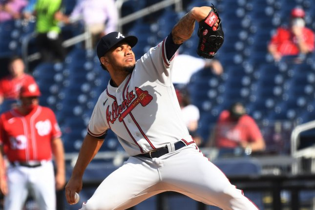 Atlanta Braves starter Huascar Ynoa pitches in the first inning of the second game of a doubleheader against the Washington Nationals on Wednesday in Washington, D.C. Photo by Pat Benic/UPI
